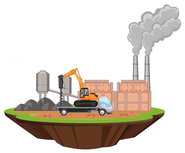 工場の建物のシーンと現場でのドリル 無料ベクター