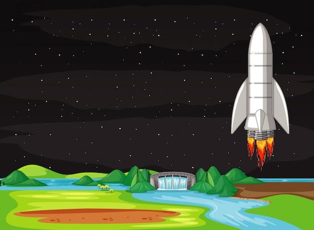 Сцена с летающим в небе космическим кораблем Бесплатные векторы