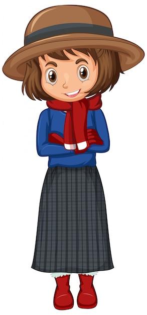 Девушка в зимней одежде Бесплатные векторы