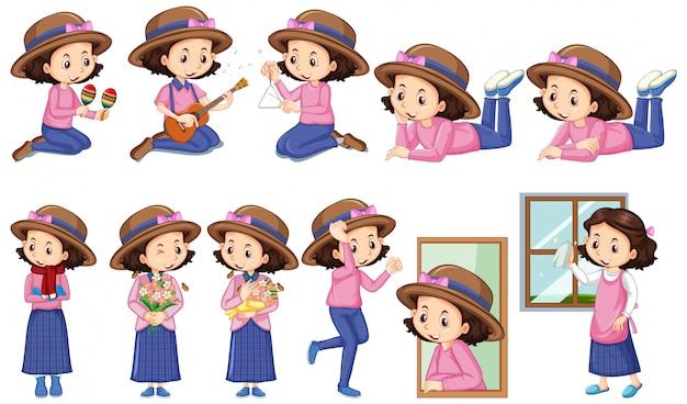 Девушка в розовой рубашке делает различные мероприятия Бесплатные векторы