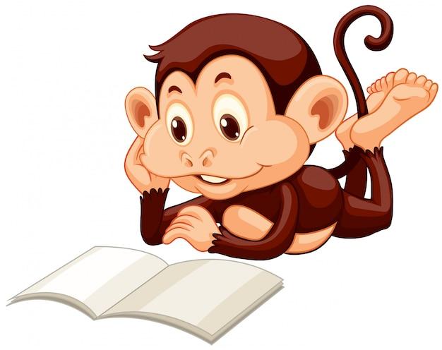Маленькая обезьяна читает книгу Бесплатные векторы