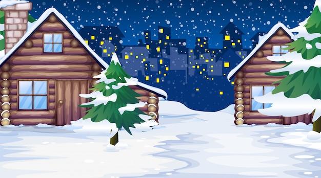雪の中の家のシーン 無料ベクター