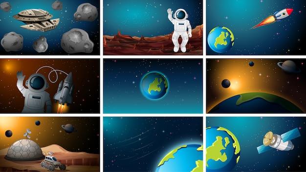 Множество различных космических сцен Бесплатные векторы