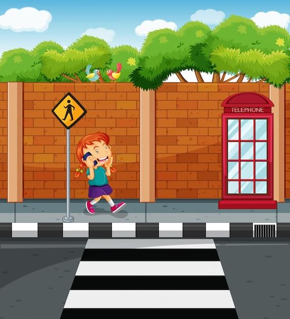 通りで携帯電話でチャットの女の子 無料ベクター