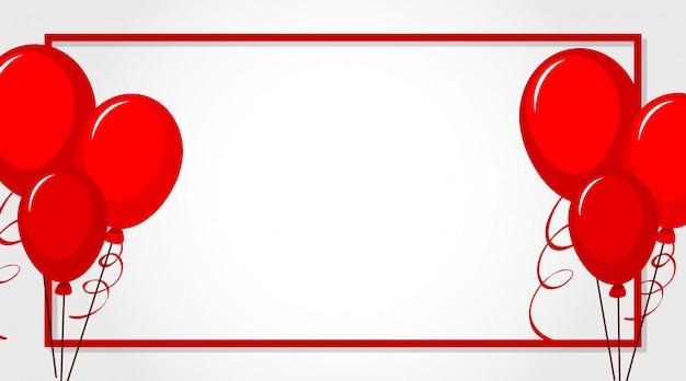 Валентина тема с красными воздушными шарами вокруг рамы Бесплатные векторы