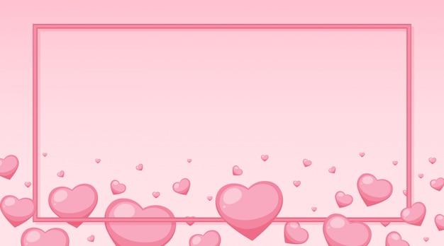 フレームの周りにピンクのハートのバレンタインテーマ 無料ベクター