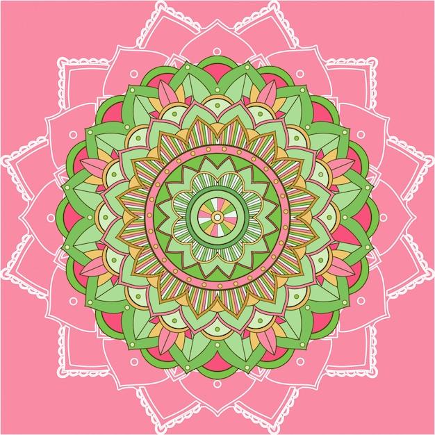 ピンクの背景のマンダラパターン 無料ベクター