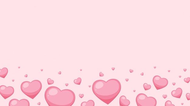 Валентина тема с розовыми сердечками на розовом фоне Бесплатные векторы