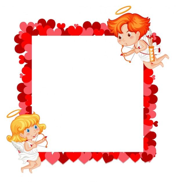 キューピッドと赤いハートのバレンタインテーマ 無料ベクター