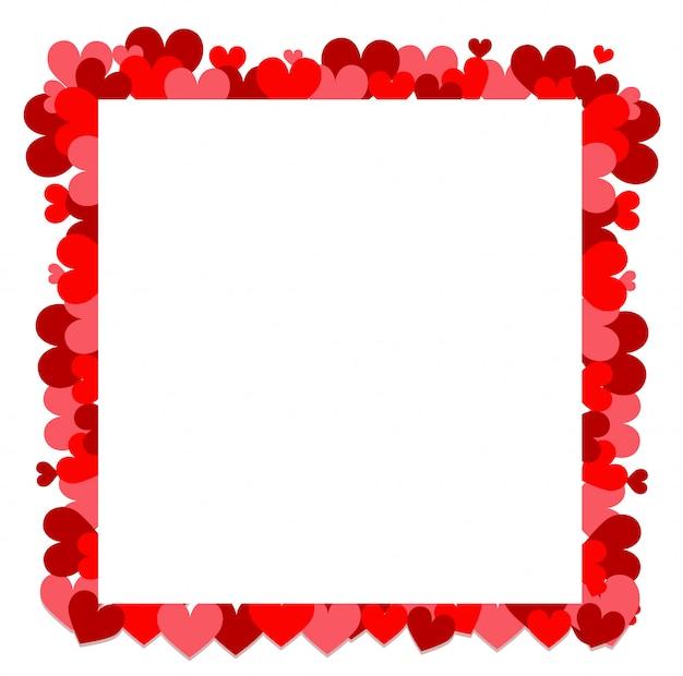 Валентина тема с маленькими красными сердцами вокруг рамки Бесплатные векторы