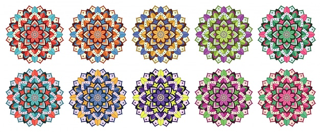 さまざまな色のマンダラパターン 無料ベクター