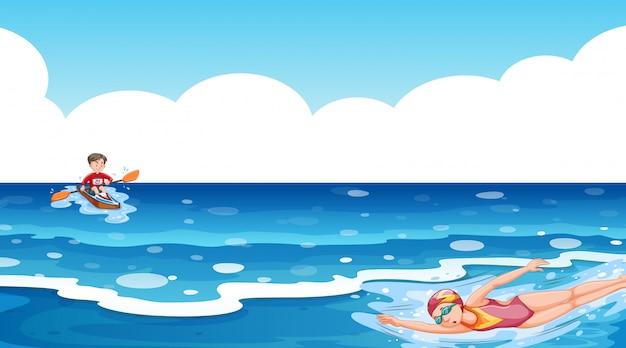 Сцена с людьми, занимающимися водными видами спорта в океане Бесплатные векторы