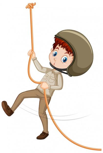 分離された茶色の制服登山の少年 無料ベクター