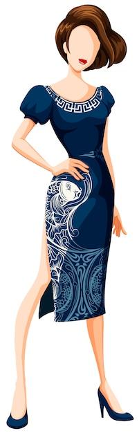 ファッションチャイナドレス Premiumベクター