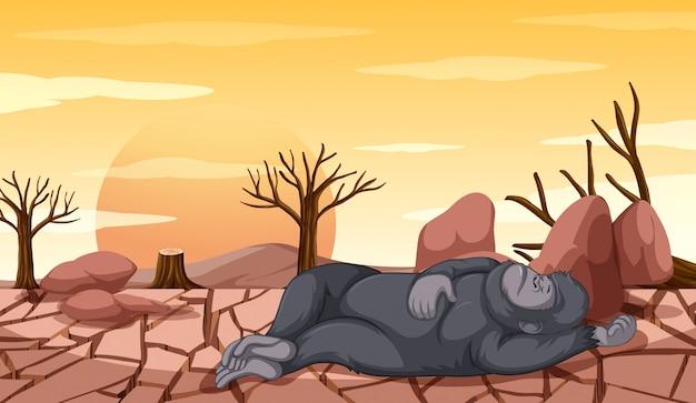 死にかけているサルの森林伐採シーン 無料ベクター