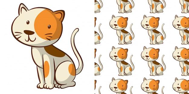 Бесшовный узор с милой кошкой Бесплатные векторы