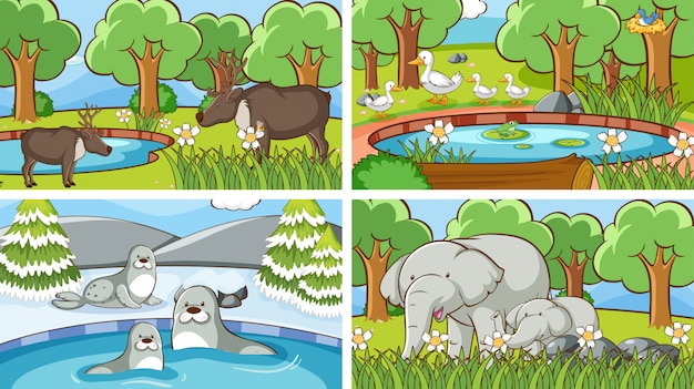 Фоновые сцены животных в дикой природе Бесплатные векторы