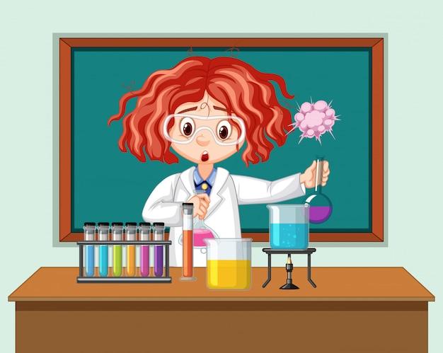 Ученый, работающий с научными инструментами в лаборатории Бесплатные векторы