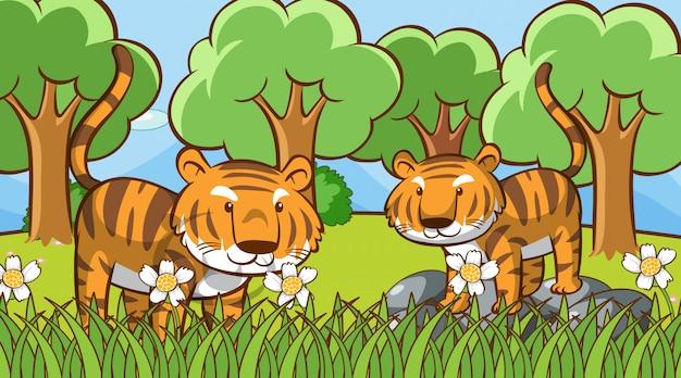 森の中のかわいいトラとのシーン 無料ベクター