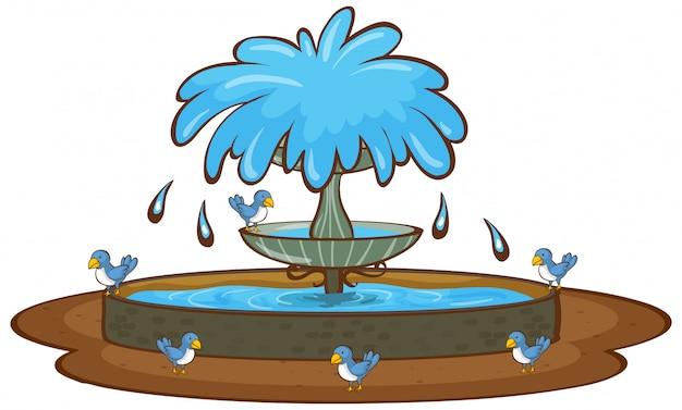 鳥と白い背景の上の噴水 無料ベクター