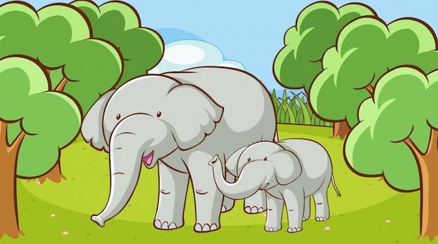 森の中の象とのシーン 無料ベクター