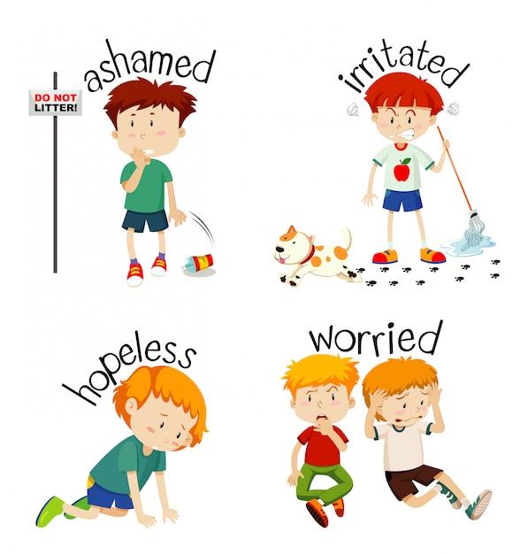 子供の感情を表す形容詞 無料ベクター