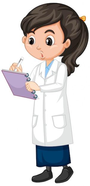 Девушка в научной одежде, написание на белом Бесплатные векторы