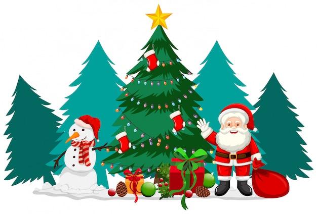 サンタと雪だるまのクリスマステーマ 無料ベクター