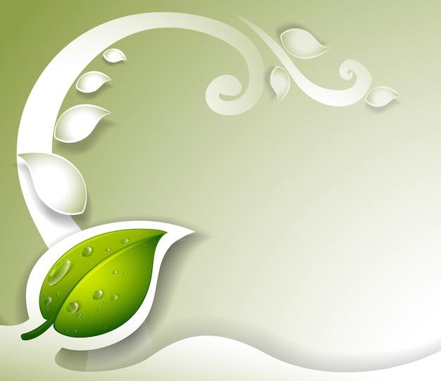 Серо окрашенные канцелярские принадлежности с зеленым листом Бесплатные векторы