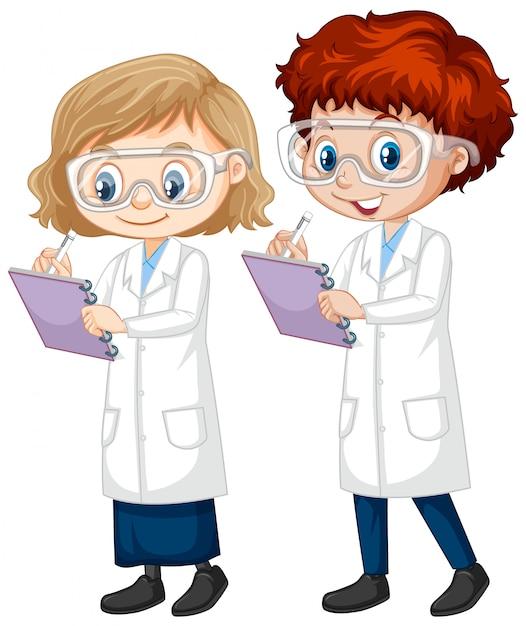 Мальчик и девочка в халате науки на изолированные Бесплатные векторы