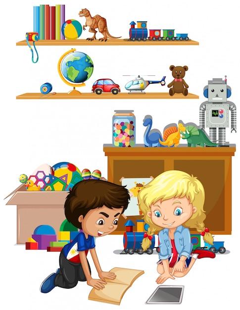 Сцена с чтением мальчика и девочки в комнате Бесплатные векторы