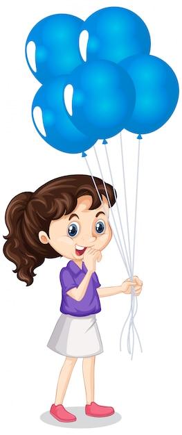 分離の青い風船を持つ少女 無料ベクター