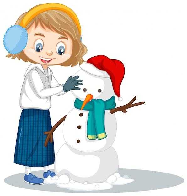 Девушка манкинг снеговик на изолированные Бесплатные векторы