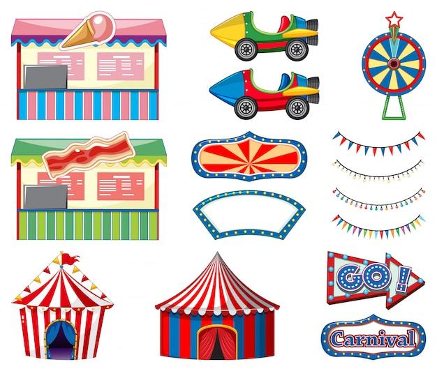 Набор цирковых аттракционов и игровой стенд на белом Бесплатные векторы