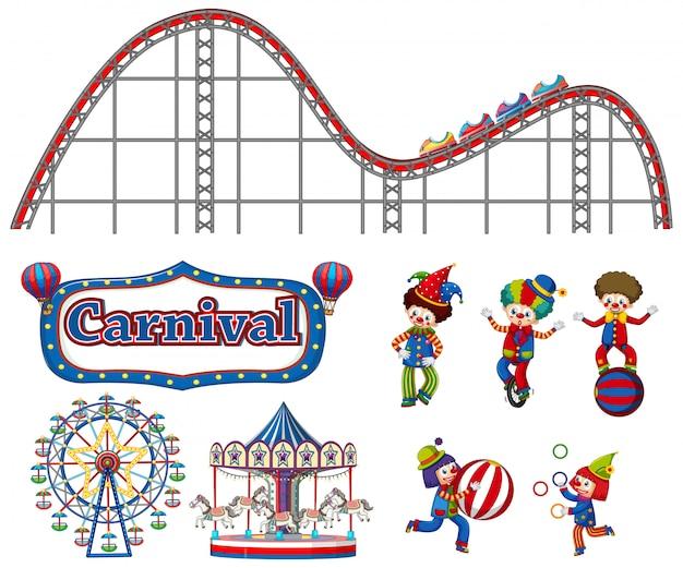 Большой набор карнавальных предметов и клоунов на белом Бесплатные векторы