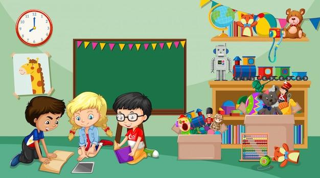 部屋で遊んでいる子供たちとのシーン Premiumベクター