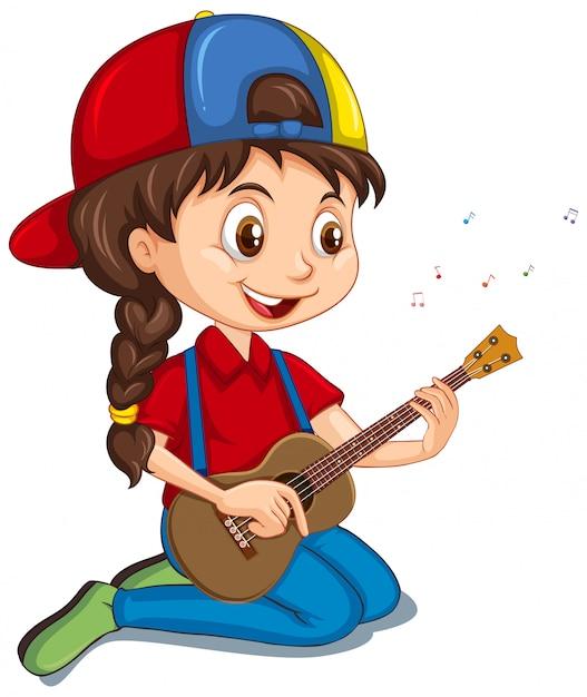 Девушка играет на гитаре на белом Premium векторы