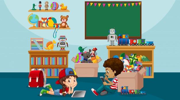 男の子と女の子が部屋で遊んでいるシーン Premiumベクター