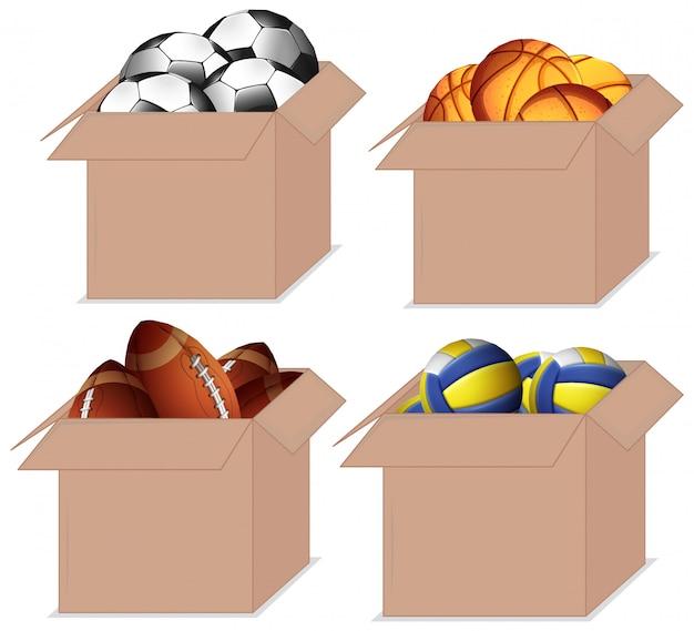 さまざまな種類のボールでいっぱいのボックスのセット 無料ベクター