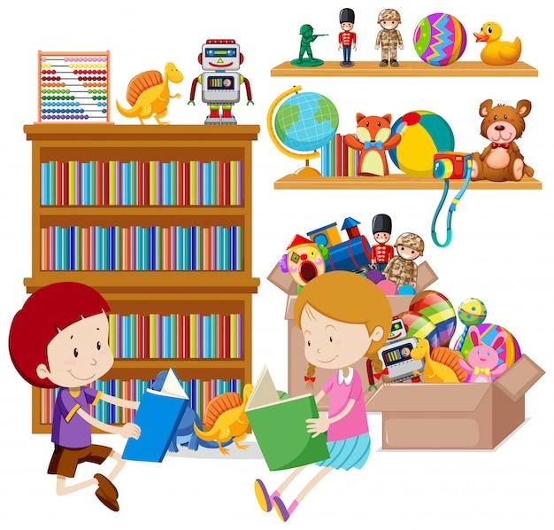 Полка с книгами и игрушками на белом Бесплатные векторы