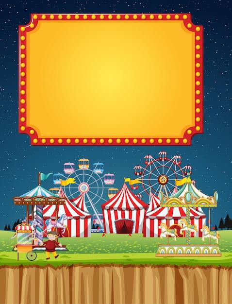 Цирковая сцена с шаблоном знака в ночном небе Бесплатные векторы