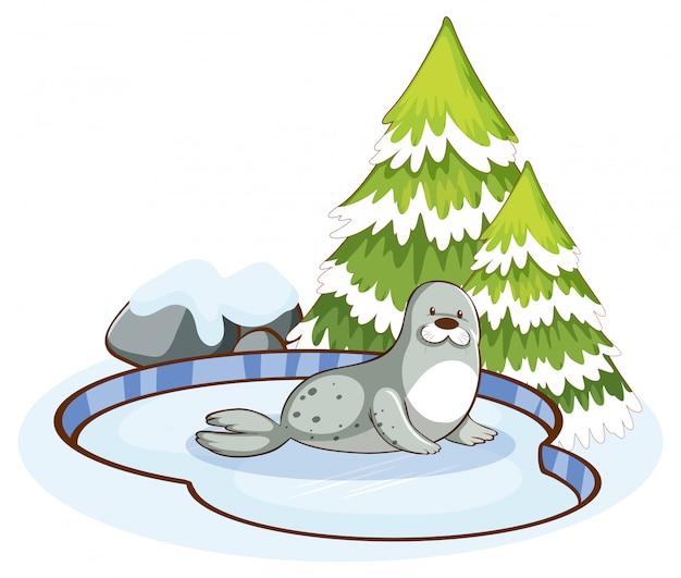 雪の中でかわいいシールのあるシーン 無料ベクター