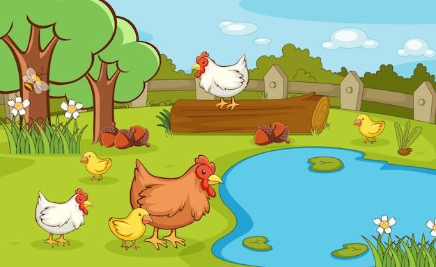 Сцена с цыплятами в парке Бесплатные векторы