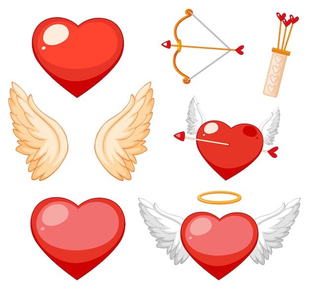 Валентина тема с сердечками и крыльями Бесплатные векторы