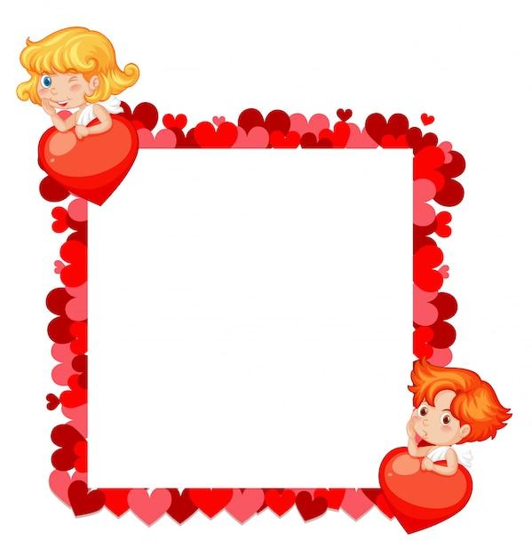 赤いハートと天使のバレンタインテーマ Premiumベクター