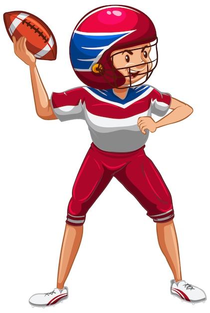 白のアメリカンフットボールをしている選手 無料ベクター