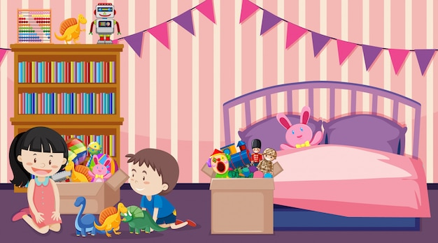 男の子と女の子が部屋で遊んでいるシーン 無料ベクター