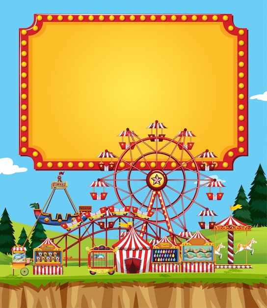 Цирковая сцена с шаблоном знака в небе Бесплатные векторы