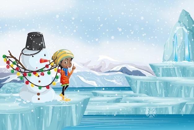 女の子と雪だるまのクリスマスシーン 無料ベクター
