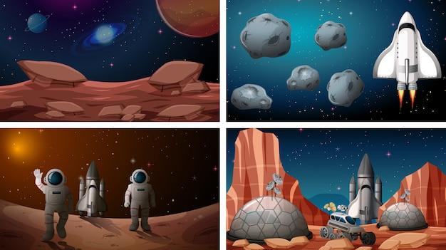 Набор космических сцен Бесплатные векторы